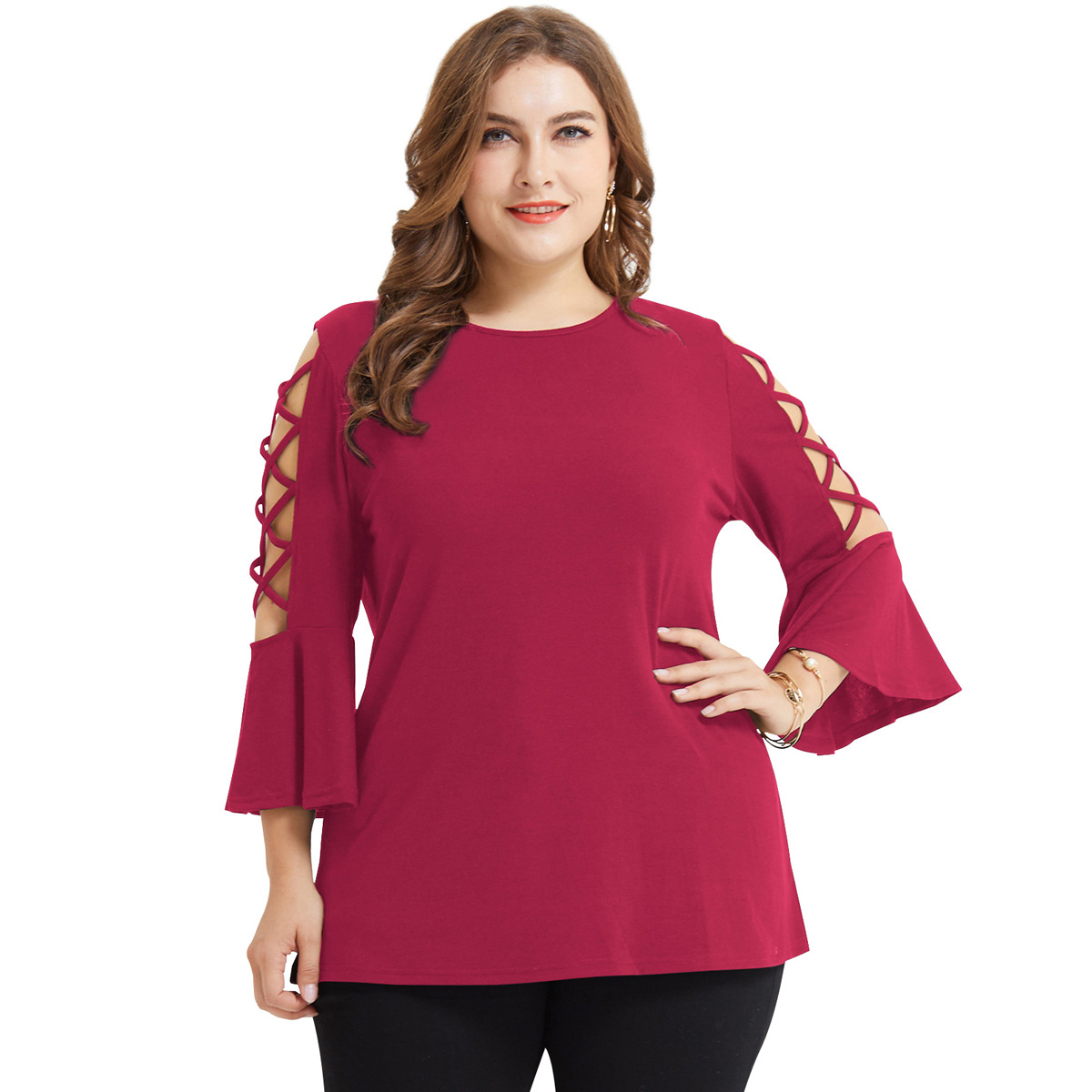 Cross border New Amazon popular European and American large women's top plus size hollow horn sleeve T-shirt for women