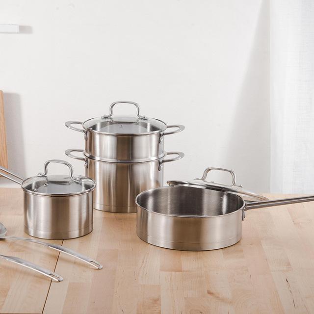 Chi nhánh có ba đôi thép không gỉ bộ quà tặng dụng cụ nấu dưới cùng của ba mảnh tập hợp các dụng cụ nấu bếp chiên chảo sữa nồi súp nồi Phổ Bộ dụng cụ nấu ăn