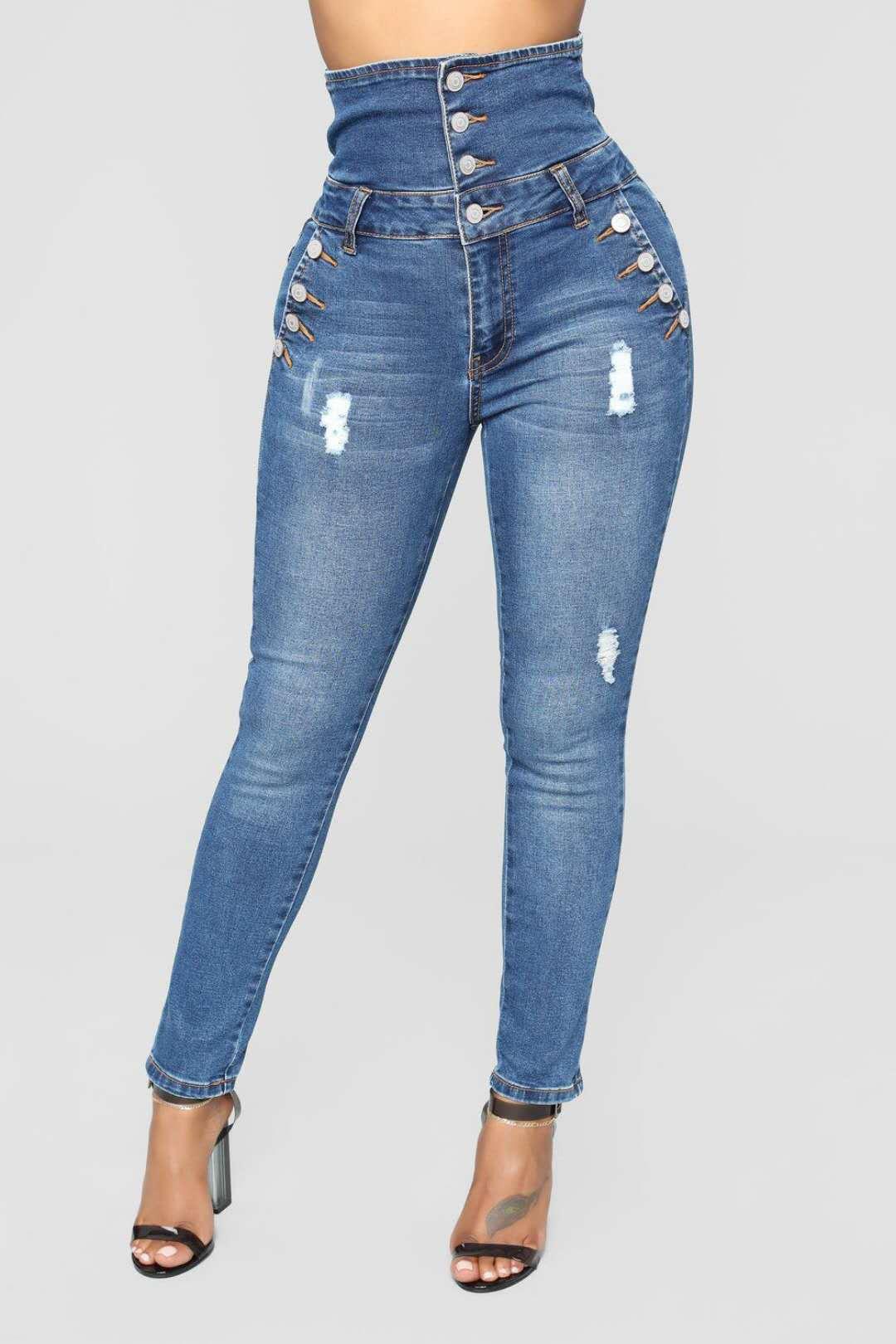 Compre Dama De La Moda Estilo Europeo De La Belleza Azul Jeans Nuevos Pantalones De Talle Alto Con Elastico De Cuatro Pechos Cuerpo Delgado S 3xl A 17 66 Del Lv529907431 Dhgate Com