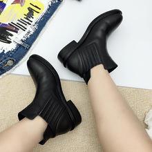 2018秋冬新款布洛克短筒切尔西女靴休闲短靴松紧带设计厚底短跟