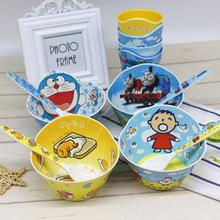 创意可爱卡通儿童餐具宝宝吃饭?#28010;?#23494;胺碗盘勺子三件套装日用百货