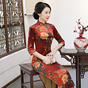 Chinese Dresses Qipao for women robe chinoise cheongsam Cashmere sleeve long cheongsam large size dress one piece of cheongsam top for women