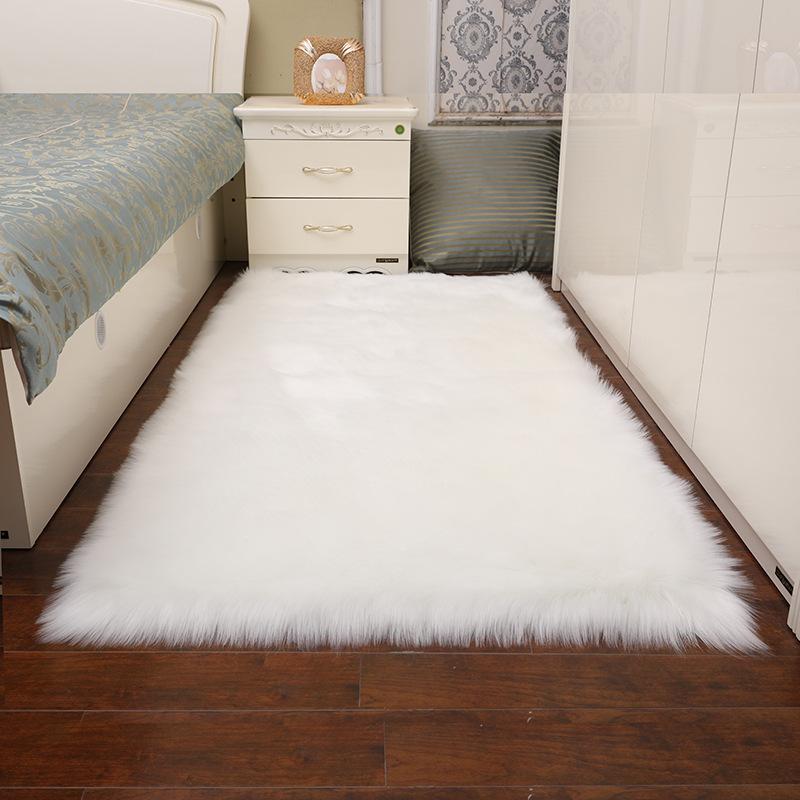 2019新款毛绒地毯地垫家用长方形白色客厅仿羊皮毛卧室防滑垫批发