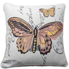 廠家直銷 提花棉麻抱枕蝴蝶提花色織抱枕套45cm沙發汽車靠墊/抱枕