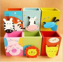 韓國創意學校辦公文具木制可愛彩繪動物筆筒帶便簽夾子廠家批發