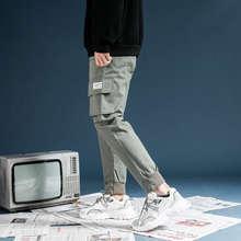日?#30340;?#35013;ulzzang工装裤?#34892;?#33050;休闲裤口袋美式i嘻哈裤子CK03