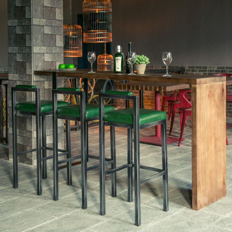 家庭复古实木吧台做旧高脚桌小吧台酒柜松木板台面板吧台桌 家用
