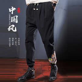 大码男式束脚裤紧腿运动裤男秋季小脚男款束腿裤中国风印花休闲裤