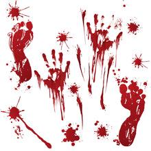 萬圣節墻貼恐怖門貼窗戶貼畫櫥窗玻璃裝飾品南瓜腳印血手印貼紙