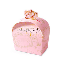 European hot stamping crown gift folding candy color box original Korean small jewelry packaging box custom