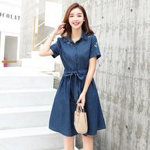 2018夏季新款牛仔連衣裙 韓版修身中長款刺繡系帶裙短袖學生潮女
