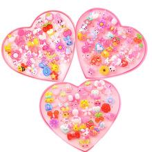 韩版儿童卡通戒指 爱心树脂戒指套装女孩礼物幼儿园奖品地摊批发