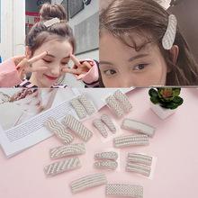 韩版 新款水滴高档大气 珍珠带钻边夹刘海 简约款白带珍珠碎发夹