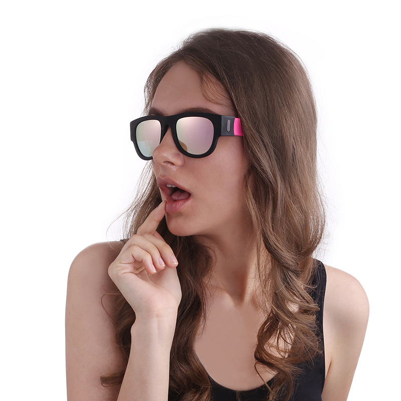 炫彩镀膜啪啪镜户外骑行运动折叠款太阳镜啪啪圈偏光真膜太阳眼镜