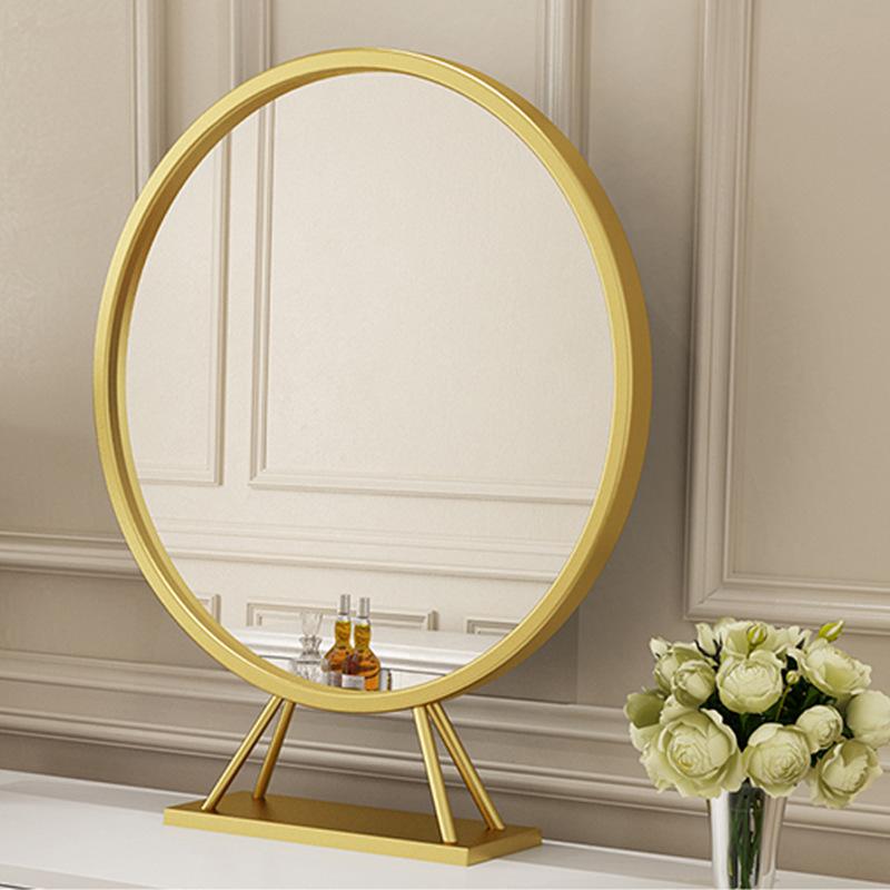 北欧金色铁艺圆形化妆镜简约台式单面浴室镜酒店卧室梳妆镜子批发
