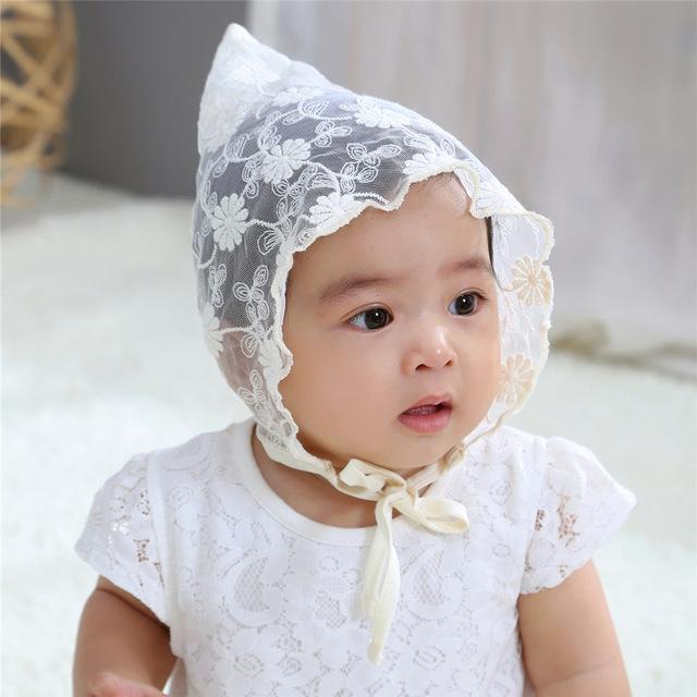 韩版新款超可爱镂空蕾丝绣花尖角帽百搭公主帽 春夏 全棉宝宝胎帽