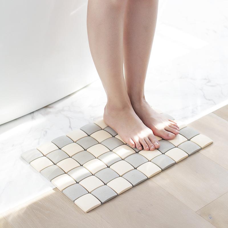 森活SOVO硅藻土格子脚垫吸湿浴室垫创意家居生活用品厂家