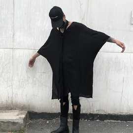 批发春夏男宽松中袖V领中长款T恤暗黑青年休闲装 CT636 P75
