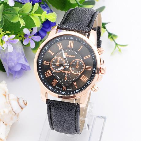 Đồng hồ nổ 2018 mẫu đồng hồ dây đai vỏ vàng be ba chữ La Mã chữ số La Mã GENEVA không có kim cương