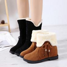 加绒雪地靴女冬两穿2018新款网红同款百搭短靴加绒保暖中筒靴