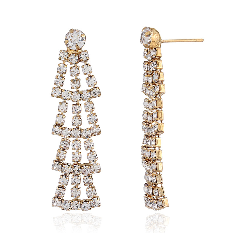 New retro harbor style full of diamonds fringed stars S925 fashion temperament exaggerated atmospheric earrings NHKQ199047