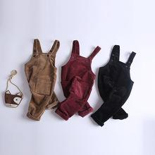 秋装2018新儿童背带裤0-3岁宝宝全棉背带裤韩版有弹灯芯绒背带裤