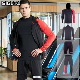 new sports suit men's hooded zipper jacket elastic quick-drying high-neck running fitness clothing four-piece