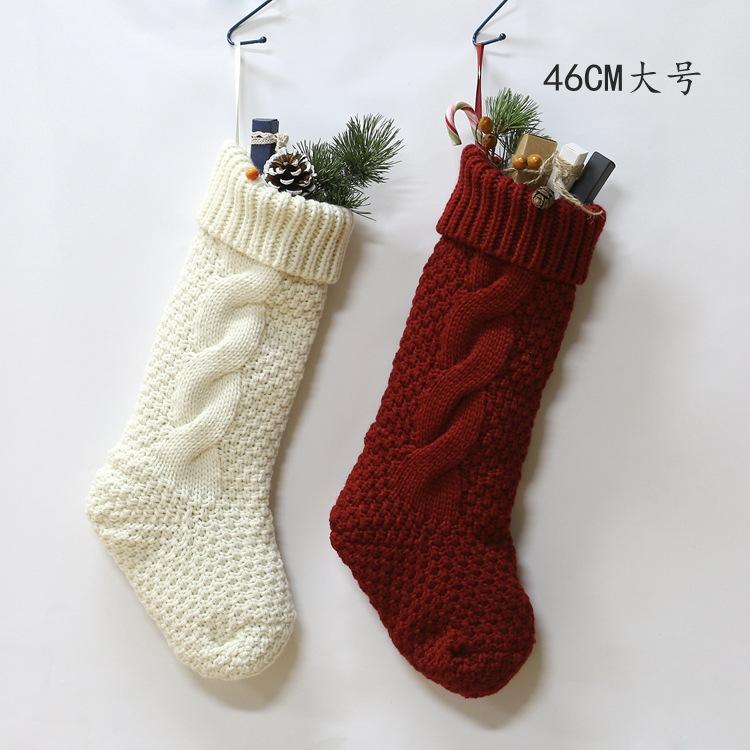 """Large Pack 4, 18""""(46CM) Unique Ivory White Fuchsia Knit Christmas Stocking"""