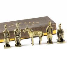 西安特色工藝品 仿秦始皇兵馬俑模型 辦公室禮品銅擺件旅游紀念品