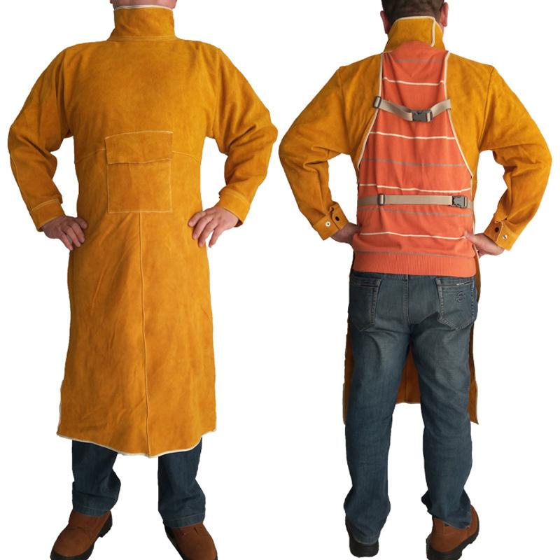 牛皮电焊反穿衣工作围裙 防火耐磨防烫焊接阻燃防护服焊工劳保服