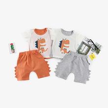 夏季贴布立体小恐龙印花童套装婴幼儿短袖T恤短裤两件套一件代发