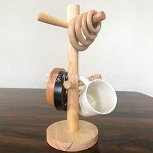 橡胶木杯架 厨房收纳架木质沥水挂架 榉木杯架 纸巾架 实木杯架