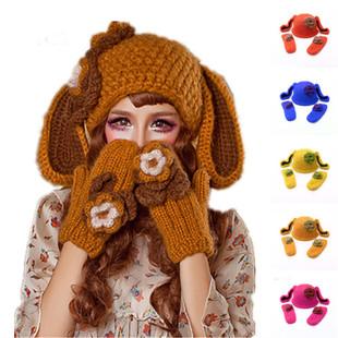 BomHCS大耳朵兔子帽+手套花朵纯手工编织毛线帽冬女速卖通wish