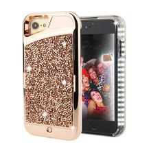 iphone7镶钻发光壳补光壳苹果iphone8带钻手机壳LED补光自拍现货