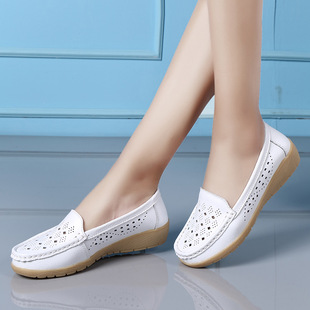 Summer women's shoes, new women's casual single shoes, middle-aged and elderly wedge heel peas shoes female mother shoes hollow