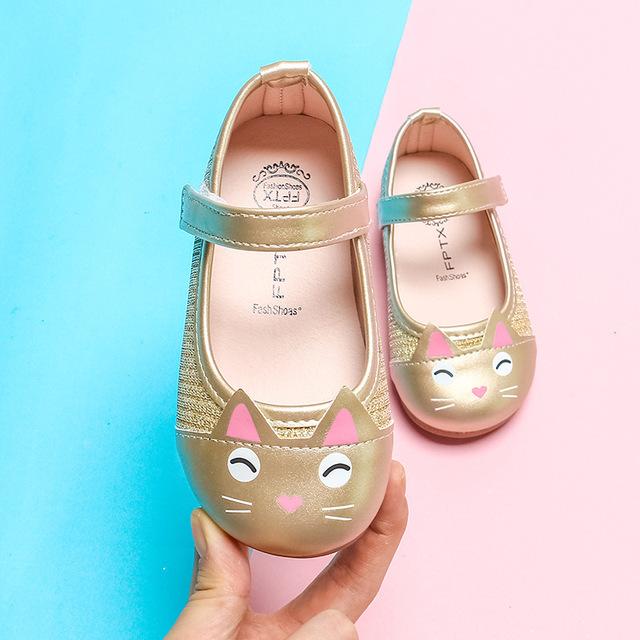 Xuân 2019 mới cô gái Hàn Quốc công chúa giày nhỏ cô bé đậu Hà Lan giày bé mèo đầu giày đơn Giày công chúa