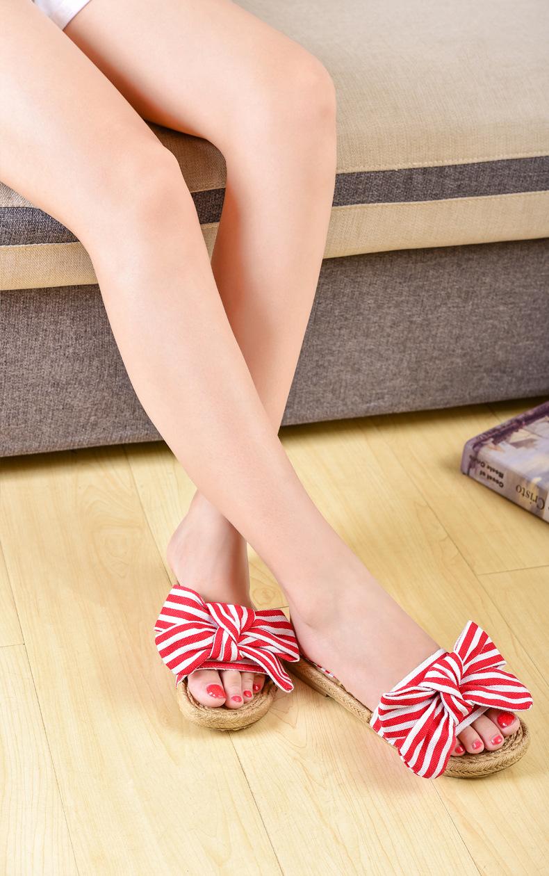 summer cute flat striped canvas slippers NSPE9988