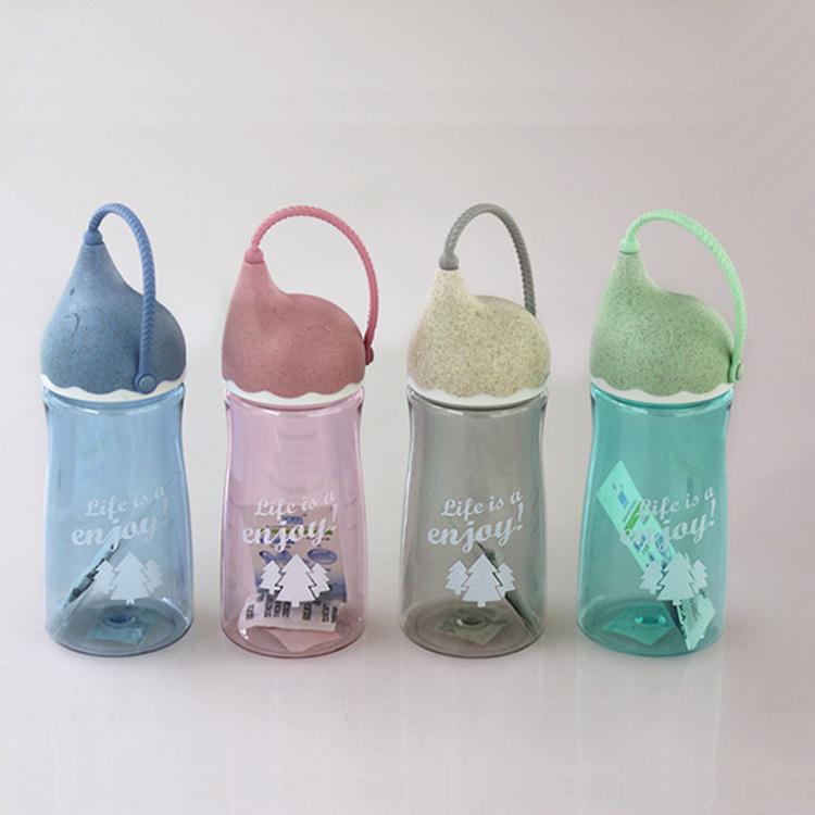 太空水杯塑料提手杯吸管水杯 登山水杯 运动水壶 手提绳杯子磨砂