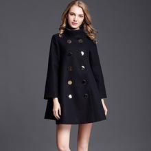 欧美女装2019秋冬新款中长款斗篷毛呢外套女宽松羊毛呢子大衣女