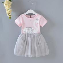 新款童装夏款女童连衣裙纯棉网纱裙天鹅印花公主裙儿童短袖裙子批