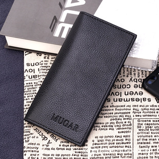 Factory direct sales new Korean business men's solid color long wallet gift wallet multi-card wallet customization