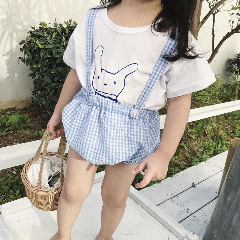 阿木猴夏季新品婴幼儿小格子背带连体裤女宝宝宽松全棉薄款背带裤