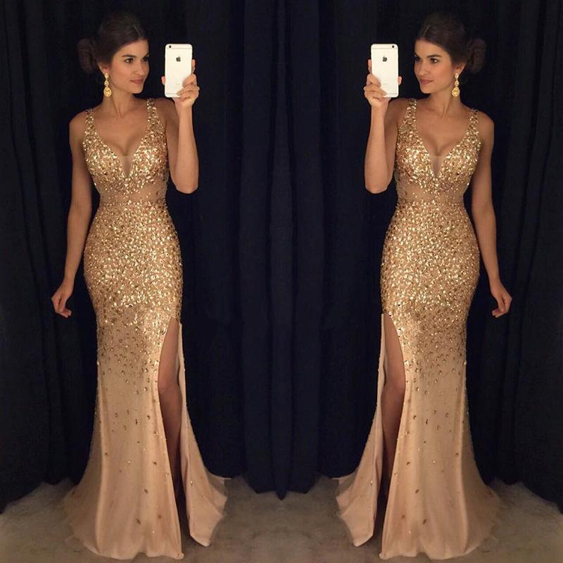 Summer European And American Split Sequin Dress Long Dress Evening Dress
