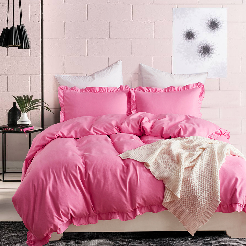 Softest 3 piece set bed ruffled comforter duvet cover pillowcase twin / queen / king NHSP134569