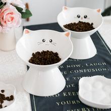 陶瓷貓碗貓糧碗貓食盆喝水碗可愛寵物碗套裝貓咪用品斜口碗加高