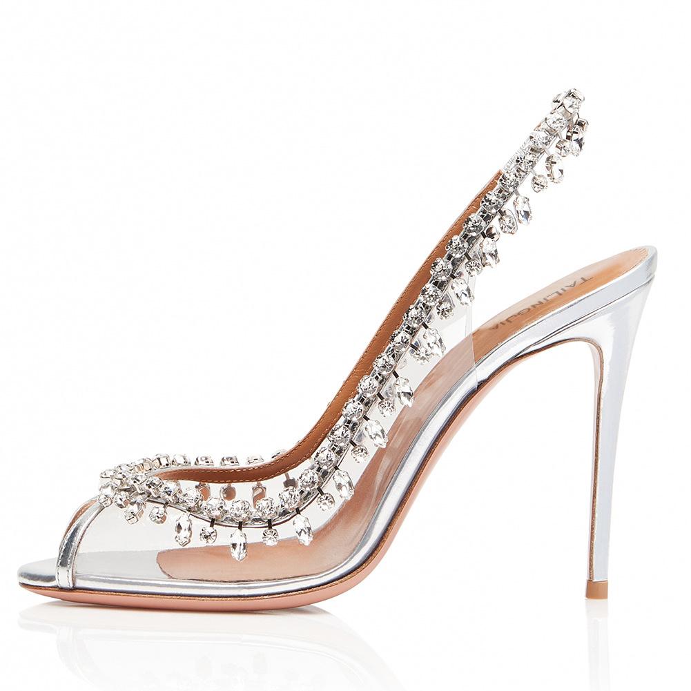 PVC鱼嘴露跟高跟单鞋外贸大码女鞋华丽链钻时装鞋成都跨境货源