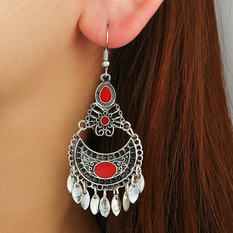 Alloy Vintage Geometric earring(red) NHGY1772-red