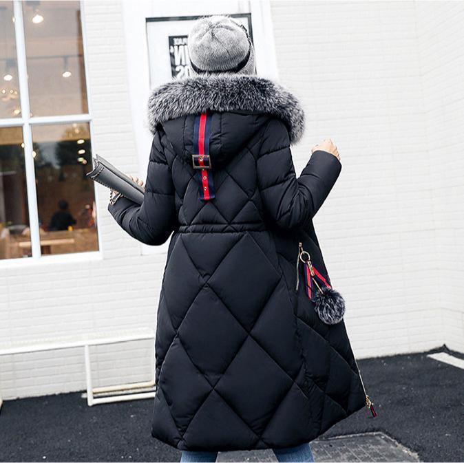 反季棉衣女秋冬季加厚长款大毛领棉服宽松显瘦大码过膝棉袄一件代