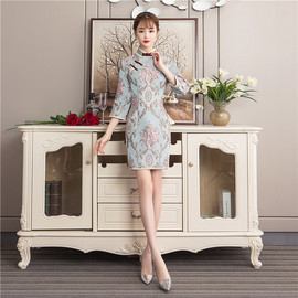 Autumn and winter new stand collar Chinese style Slim modified cheongsam dress