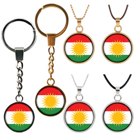 Jewelry Kurdistan Banner Fashion Bag Buckle Double-Sided Time Gemstone Keychain Car Pendant GQ